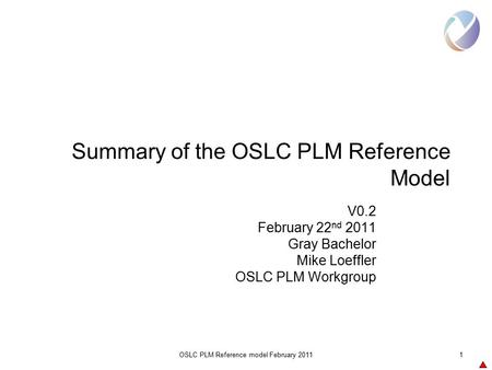 OSLC PLM Reference model February 20111 Summary of the OSLC PLM Reference Model V0.2 February 22 nd 2011 Gray Bachelor Mike Loeffler OSLC PLM Workgroup.