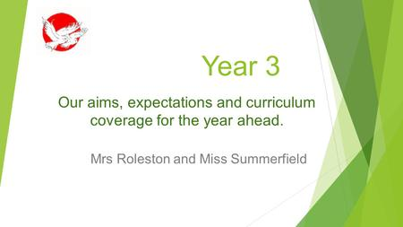 Year 3 Mrs Roleston and Miss Summerfield Our aims, expectations and curriculum coverage for the year ahead.