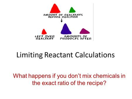 Limiting Reactant Calculations What happens if you don't mix chemicals in the exact ratio of the recipe?