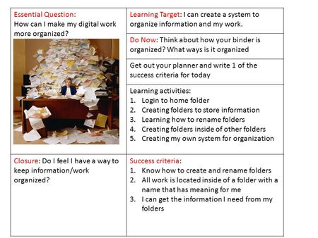 Essential Question: How can I make my digital work more organized? Learning Target: I can create a system to organize information and my work. Do Now: