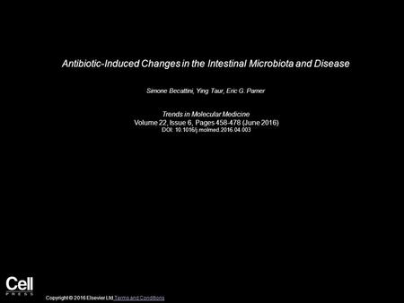 Antibiotic-Induced Changes in the Intestinal Microbiota and Disease Simone Becattini, Ying Taur, Eric G. Pamer Trends in Molecular Medicine Volume 22,