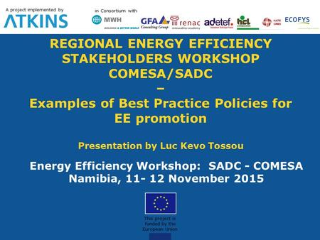 REGIONAL ENERGY EFFICIENCY STAKEHOLDERS WORKSHOP COMESA/SADC – Examples of Best Practice Policies for EE promotion Presentation by Luc Kevo Tossou Energy.