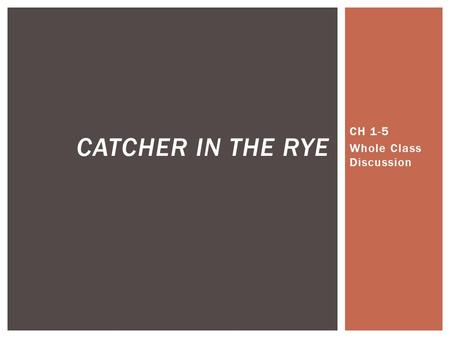 CH 1-5 Whole Class Discussion CATCHER IN THE RYE.