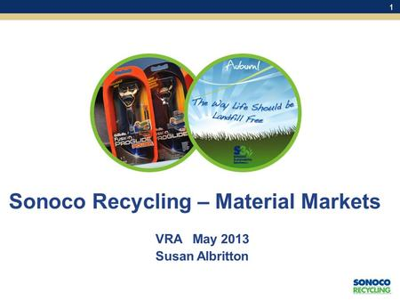 1 Sonoco Recycling – Material Markets VRA May 2013 Susan Albritton.