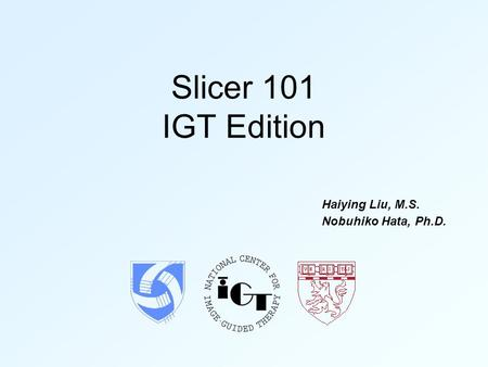 Slicer 101 IGT Edition Haiying Liu, M.S. Nobuhiko Hata, Ph.D.