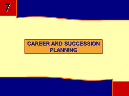 CAREER AND SUCCESSION PLANNING 7. 7 OBJECTIVES Understand Career Anchors and Importance of Career Planning Programmes Understand the Succession Planning.
