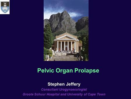 Stephen Jeffery Consultant Urogynaecologist Groote Schuur Hospital and University of Cape Town Pelvic Organ Prolapse.