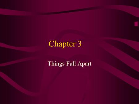 Chapter 3 Things Fall Apart. Agbala, the Oracle The Oracle of the Hills and the Caves gives authoritative decisions.