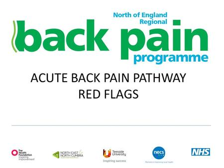 ACUTE BACK PAIN PATHWAY RED FLAGS. Red flags- make you think! H/O cancer Recent unexplained weight loss Progressive neurological symptoms, limb weakness.