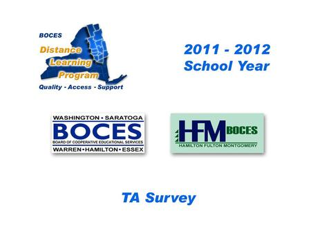 HFM SAN Distance Learning Project DL Aide - Assistant Survey 2010 – 2011 School Year... BOCES Distance Learning Program Quality Access Support.