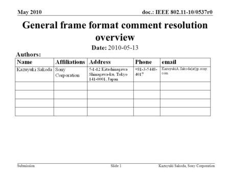 Doc.: IEEE 802.11-10/0537r0 Submission May 2010 Kazuyuki Sakoda, Sony CorporationSlide 1 General frame format comment resolution overview Date: 2010-05-13.