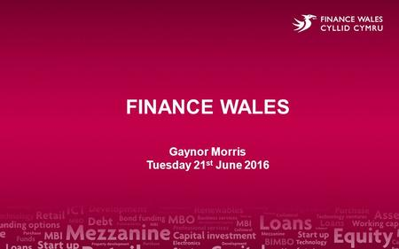 FINANCE WALES Gaynor Morris Tuesday 21 st June 2016.