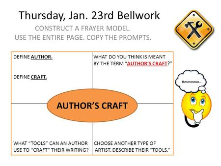 Thursday, Jan. 23rd Bellwork CONSTRUCT A FRAYER MODEL. USE THE ENTIRE PAGE. COPY THE PROMPTS. AUTHOR'S CRAFT DEFINE AUTHOR. WHAT DO YOU THINK IS MEANT.