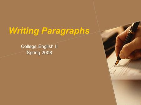 Writing Paragraphs College English II Spring 2008.