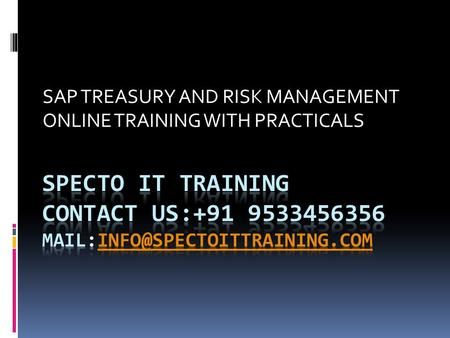 SAP TREASURY AND RISK MANAGEMENT ONLINE TRAINING WITH PRACTICALS.