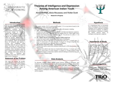 Theories of Intelligence and Depression Among American Indian Youth Research-in-Progress There are many factors that may correlate with depressive symptoms.