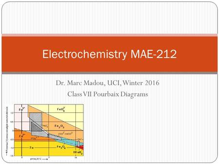 Dr. Marc Madou, UCI, Winter 2016 Class VII Pourbaix Diagrams Electrochemistry MAE-212.