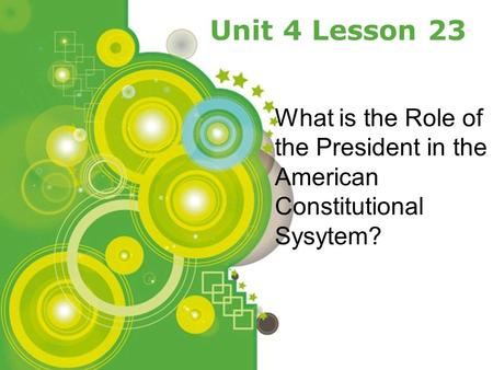 Powerpoint Templates Page 1 Powerpoint Templates Unit 4 Lesson 23 What is the Role of the President in the American Constitutional Sysytem?