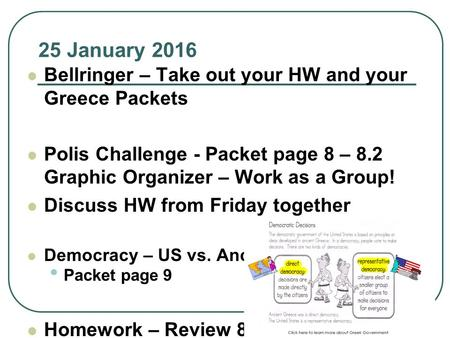 25 January 2016 Bellringer – Take out your HW and your Greece Packets Polis Challenge - Packet page 8 – 8.2 Graphic Organizer – Work as a Group! Discuss.