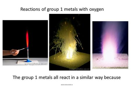 Reactions of group 1 metals with oxygen The group 1 metals all react in a similar way because ……….
