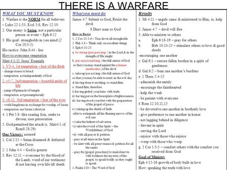 THERE IS A WARFARE WHAT YOU MUST KNOW 1. Warfare is the NORM for all believers – Luke 22:1-33; Eccl 3:8; Rev 12:10 2. Our enemy is Satan, not a particular.