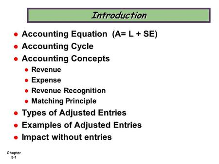 Chapter 3-1 Introduction Accounting Equation (A= L + SE) Accounting Equation (A= L + SE) Accounting Cycle Accounting Cycle Accounting Concepts Accounting.