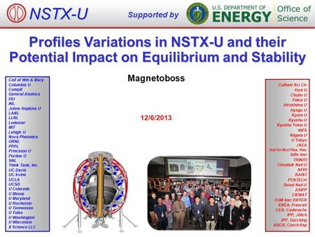 Profiles Variations in NSTX-U and their Potential Impact on Equilibrium and Stability Magnetoboss 12/6/2013 NSTX-U Supported by Culham Sci Ctr York U Chubu.
