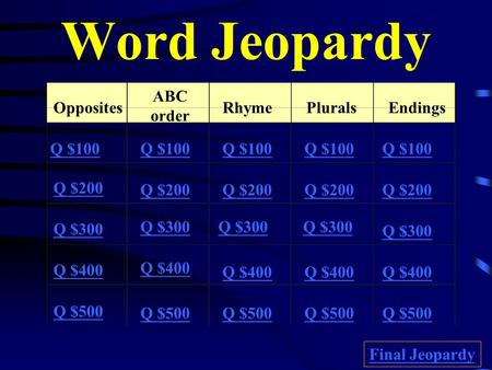 Word Jeopardy Opposites ABC order RhymePluralsEndings Q $100 Q $200 Q $300 Q $400 Q $500 Q $100 Q $200 Q $300 Q $400 Q $500 Final Jeopardy.