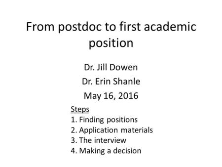 From postdoc to first academic position