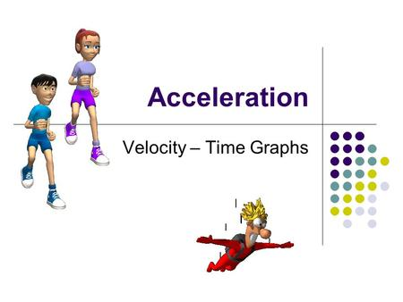 Acceleration Velocity – Time Graphs. Acceleration: Rate at which the velocity increases or decreases Units: m/s 2 or km/h 2 or km/h/s.
