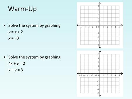 Warm-Up Solve the system by graphing y = x + 2 x = −3 Solve the system by graphing 4x + y = 2 x − y = 3.
