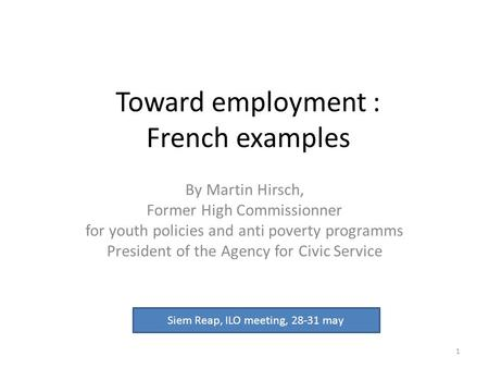 Toward employment : French examples By Martin Hirsch, Former High Commissionner for youth policies and anti poverty programms President of the Agency for.