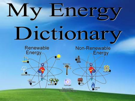 ENERGY The ability to do work. Renewable Renewable - sources that can be replenished in a short period of time. Solar, Wind, Hydropower, Geothermal,
