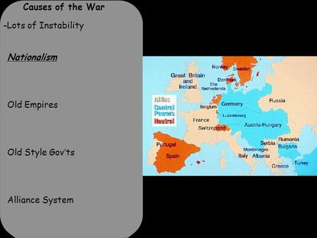 Causes of the War -Lots of Instability Nationalism Old Empires Old Style Gov'ts Alliance System.