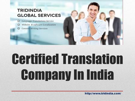 Certified Translation Company In India