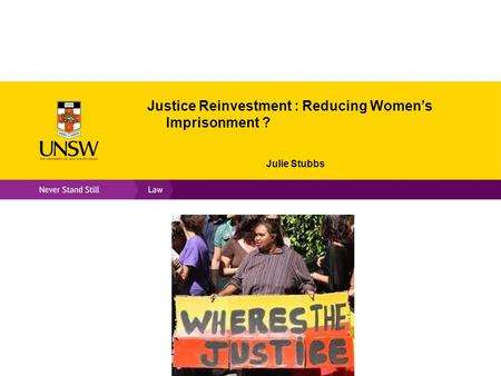 Justice Reinvestment : Reducing Women's Imprisonment ? Julie Stubbs.