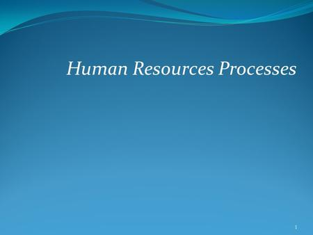 Human Resources Processes 1. Objectives Why the Human Resources function is critical to the success of a company The key processes managed by a Human.