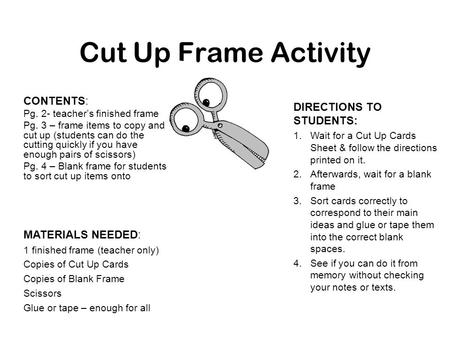 Cut Up Frame Activity CONTENTS: Pg. 2- teacher's finished frame Pg. 3 – frame items to copy and cut up (students can do the cutting quickly if you have.