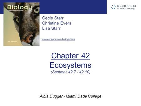 Albia Dugger Miami Dade College Cecie Starr Christine Evers Lisa Starr www.cengage.com/biology/starr Chapter 42 Ecosystems (Sections 42.7 - 42.10)