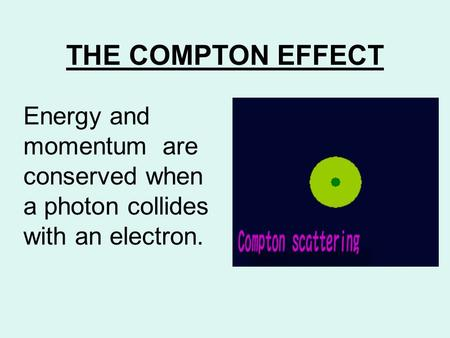 THE COMPTON EFFECT Energy and momentum are conserved when a photon collides with an electron.
