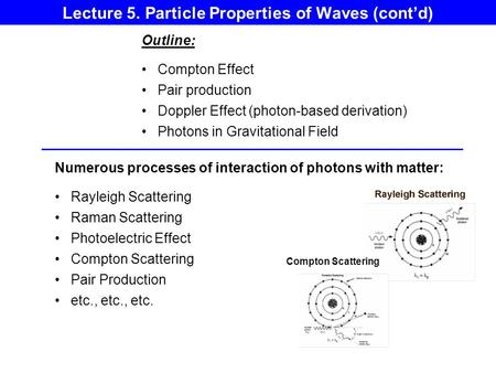 Lecture 5. Particle Properties of Waves (cont'd)