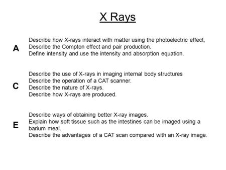 Describe how X-rays interact with matter using the photoelectric effect, Describe the Compton effect and pair production. Define intensity and use the.