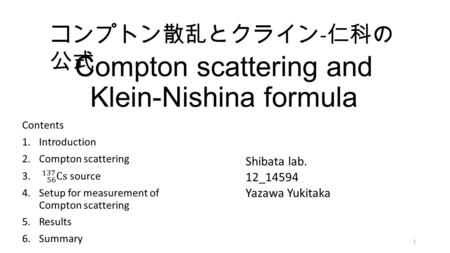 Compton scattering and Klein-Nishina formula