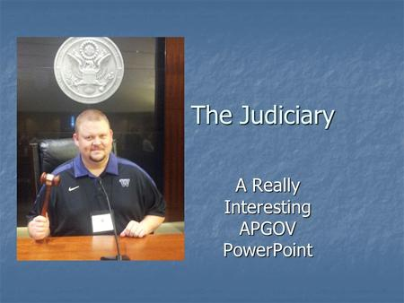 The Judiciary A Really Interesting APGOV PowerPoint.