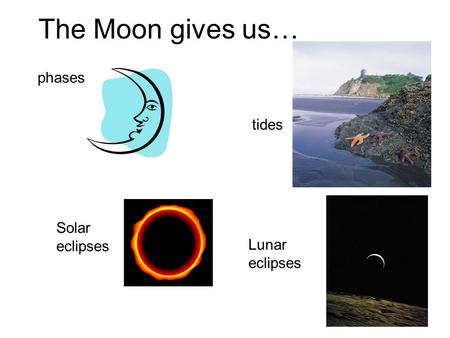 Phases tides Solar eclipses Lunar eclipses The Moon gives us…