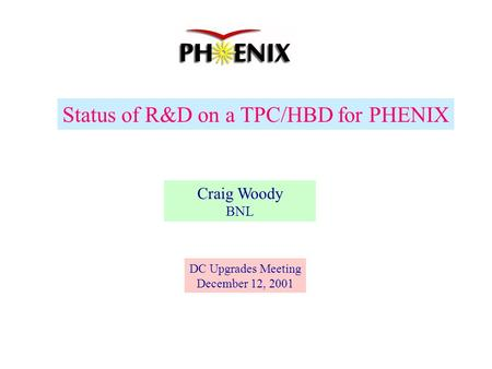 Status of R&D on a TPC/HBD for PHENIX Craig Woody BNL DC Upgrades Meeting December 12, 2001.