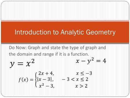 Do Now: Graph and state the type of graph and the domain and range if it is a function. Introduction to Analytic Geometry.