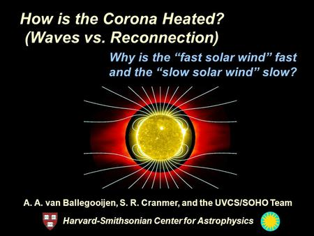 How is the Corona Heated? (Waves vs. Reconnection) A. A. van Ballegooijen, S. R. Cranmer, and the UVCS/SOHO Team Harvard-Smithsonian Center for Astrophysics.