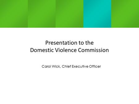 Carol Wick, Chief Executive Officer Presentation to the Domestic Violence Commission.