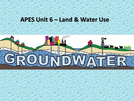 APES Unit 6 – Land & Water Use. Groundwater Learning Targets I can explain how much water on Earth is useable and where it is located. I can explain how.